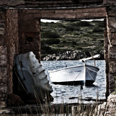 Bay Photograph - Vintage Boat Framed In Nature - Framed Memory by Pedro Cardona Llambias