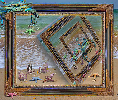 Perspective Mixed Media - Framed Sea Stars Blue Crabs Skeletons Ocean Waves by Betsy Knapp