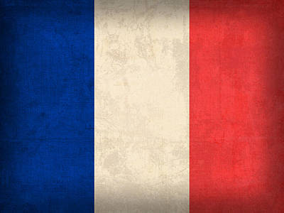 Europe Mixed Media - France Flag Distressed Vintage Finish by Design Turnpike