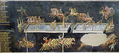Horserace Painting - France Gallo-roman Mosaic by Granger