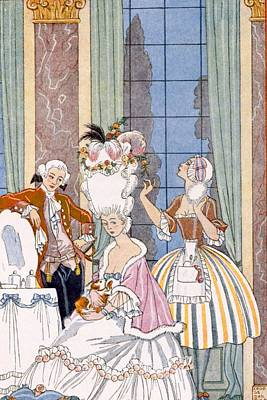 Fixing Painting - France In The 18th Century by Georges Barbier