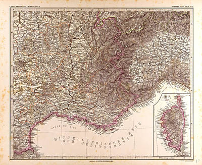 France Map 1874 Gotha Justus Perthes 1872 Atlas Art Print by French School