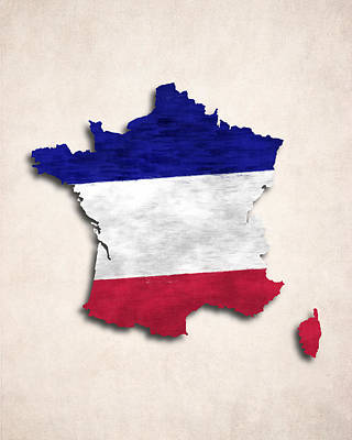 French Map Digital Art - France Map Art With Flag Design by World Art Prints And Designs