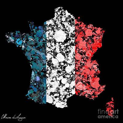 Cartography Digital Art - France Map Flag by Marion De Lauzun