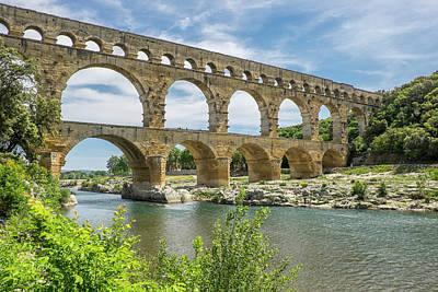 France, Nimes, The Pont Du Gard Is An Art Print by Emily Wilson