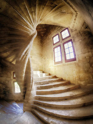 Spiral Staircase Photograph - France, Provence, Lourmarin, Spiral by Terry Eggers