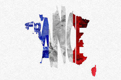 French Map Digital Art - France Typographic Map Flag by Ayse and Deniz