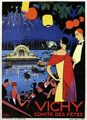 Fireworks Drawing - France Vichy, C1920 by Granger