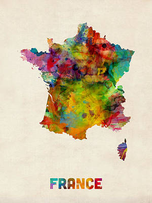 France Watercolor Map Art Print