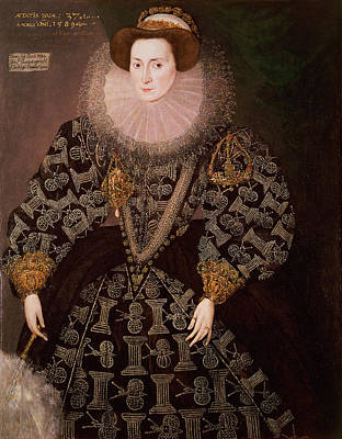 Embroidered Photograph - Frances Clinton, Lady Chandos 1552-1623, 1589 Oil On Canvas Transferred From Panel by Hieronymus Custodis