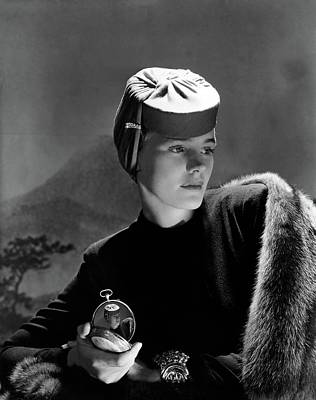 Designer Jewelry Photograph - Frances Farmer Wearing An Agnes Hat by Horst P. Horst