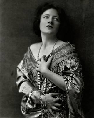 Frances Starr Wearing A Satin Dress Art Print by Nicholas Muray