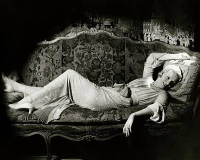 Photograph - Frances Willams Lying On A Couch by Cecil Beaton