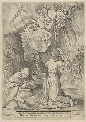 Prayer Drawing - Francis Of Assisi Receiving The Stigmata Of Christ by Hieronymus Wierix And Johannes Baptista Vrints (i)