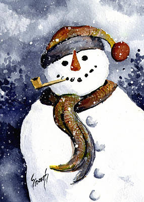 Painting - Franci's Snowman by Sam Sidders