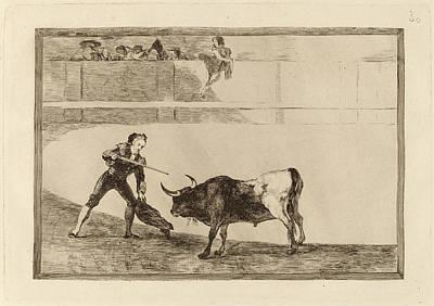 Impression Drawing - Francisco De Goya, Pedro Romero Matando A Toro Parado Pedro by Quint Lox