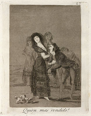 Overcoming Drawing - Francisco De Goya, Quien Mas Rendido  Which by Quint Lox