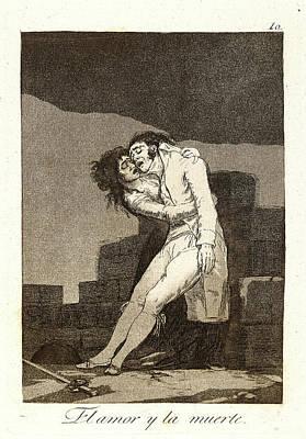 El Amor Drawing - Francisco De Goya Spanish, 1746-1828. El Amor Y La Muerte by Litz Collection