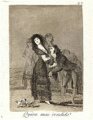 Overcoming Drawing - Francisco De Goya Spanish, 1746-1828. Quien Mas Rendido by Litz Collection