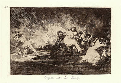 Llama Drawing - Francisco De Goya Spanish, 1746-1828. They Escape by Litz Collection
