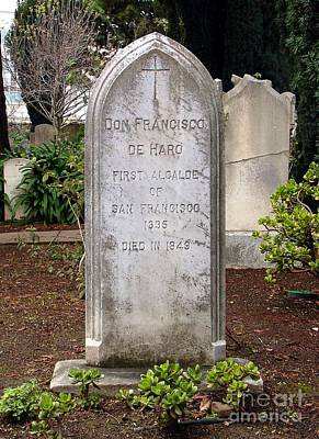Dolores Photograph - Don Francisco De Haro - Tombstone Mission Dolores by Pg Reproductions