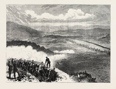 Franco-prussian War Drawing - Franco-prussian War A Prussian Battery Before Metz by French School