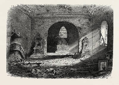 Franco-prussian War Damage In The Church Of Perouse Art Print by French School