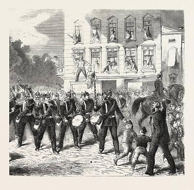 Berlin Drawing - Franco-prussian War Departure Of Berlin Of The Regiment by French School