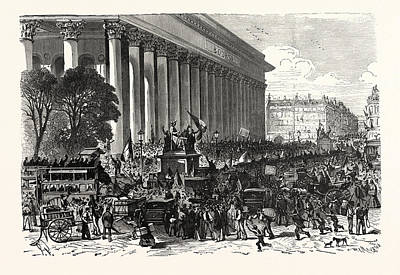 Franco-prussian War On The Stock Exchange In Paris On 6 Art Print by French School
