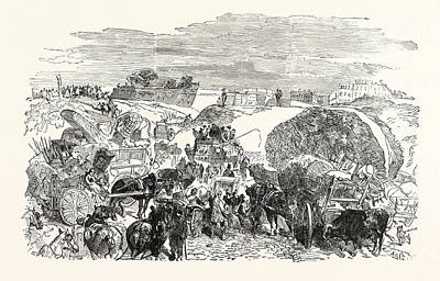 Franco-prussian War Residents Of The Zollinie Flee Art Print by French School