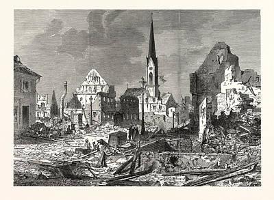 Main Street Drawing - Franco-prussian War The Devastation In The Main Street by English School