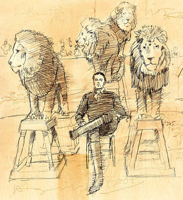 Lion Drawing - Francois. by H James Hoff