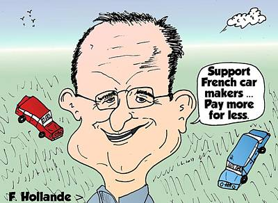 Editorial Cartoon Mixed Media - Francois Hollande And The French Car Industry by OptionsClick BlogArt