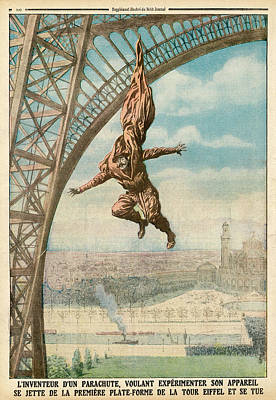 Eiffel Tower Drawing - Francois Reichelt Tests His  Parachute by Mary Evans Picture Library