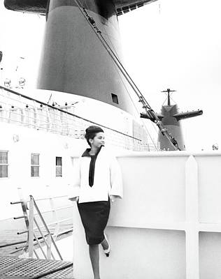 Francoise Beghin Posing By A Ship Art Print