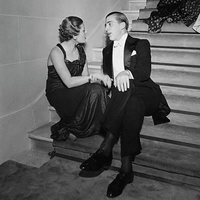 Conversation Photograph - Francoise De Laperouse And Comte Philippe De by Roger Schall
