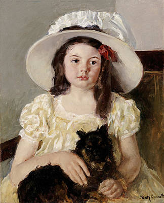 Indians Painting - Francoise Holding A Little Black Dog by Celestial Images