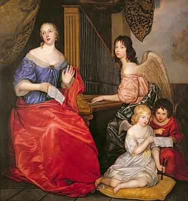 Francoise Louise 1644-1710 Duchess Of La Valliere With Her Children As Angels Oil On Canvas Art Print