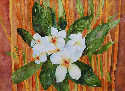 Painting - Frangipani And Bamboo  by Bobbin