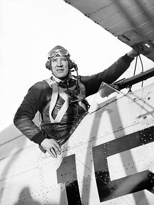 Cockpit Photograph - Frank Hawks In Cockpit by Underwood Archives