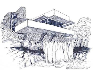 Frank Lloyd Wright Falling Water Architecture Art Print