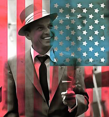 White And Blue Mixed Media - Frank Sinatra American Legend by Dan Sproul
