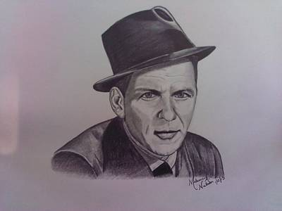 Old Blue Eyes Drawing - Frank Sinatra by Melanie Nelson