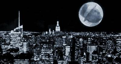 Man In The Moon Digital Art - Frank Sinatra New York City Moon by Dan Sproul