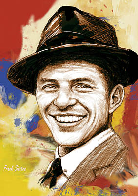 Frank Sinatra Drawing - Frank Sinatra - Stylised Pop Art Drawing Portrait Poster  by Kim Wang
