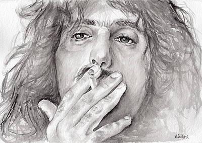 Miles Davis Oil Painting - Frank Zappa by Marina Sotiriou
