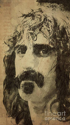 Musicians Drawings - Frank Zappa Portrait by Drawspots Illustrations