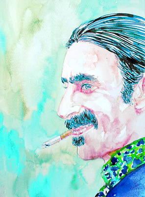 Frank Zappa Smoking A Cigarette Watercolor Portrait Print by Fabrizio Cassetta