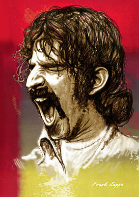 Frank Zappa Stylised Pop Art Drawing Potrait Poser Art Print by Kim Wang