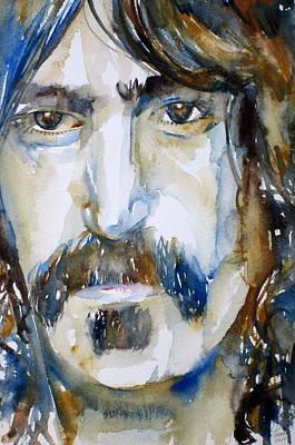 Frank Zappa Painting - Frank Zappa Watercolor Portrait.2 by Fabrizio Cassetta
